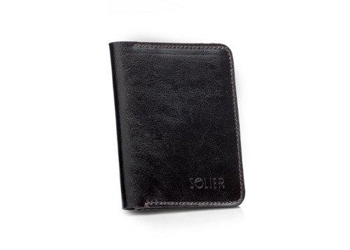 Skórzany cienki portfel męski z bilonówką SOLIER SW15 SLIM ciemny brąz