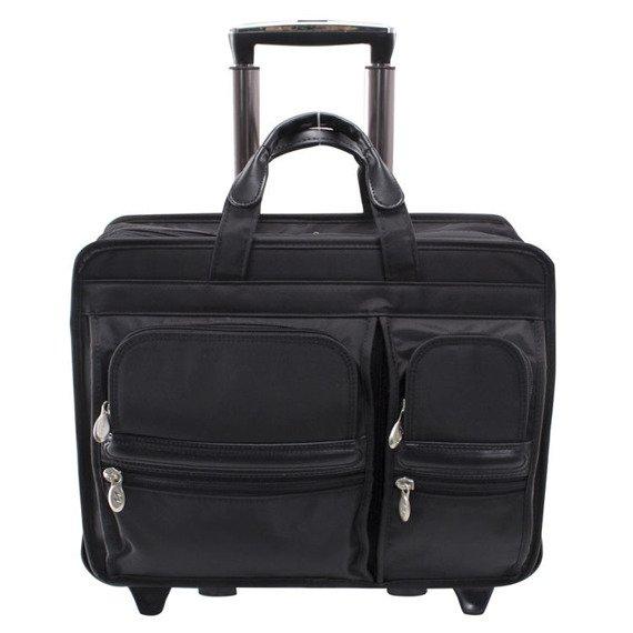"""Nylonowa torba podróżna na laptopa 17"""" z odpinanym wózkiem Mcklein Clinton 58445"""