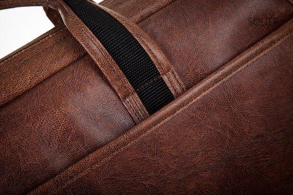 Męska torba na ramię, torba na laptop SOLIER S13 jasnobrązowa