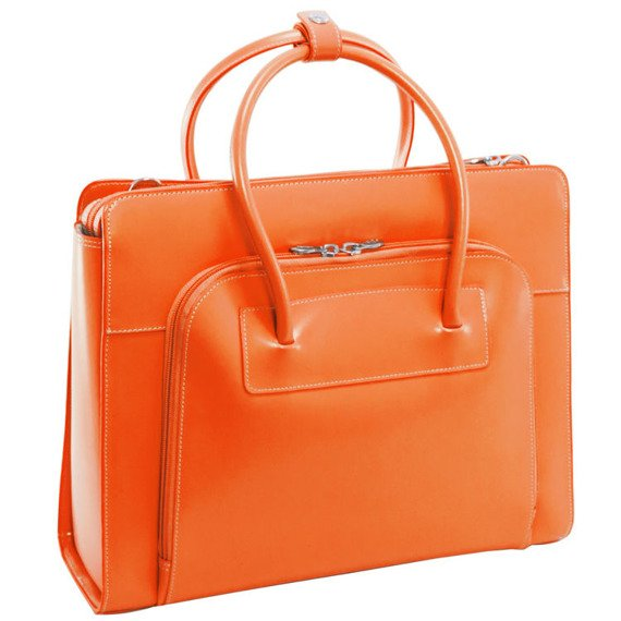 "Skórzana teczka damska Mcklein Lake Forest 94330 na laptopa 15,4"" orange"