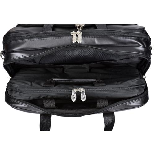 """Skórzana torba męska 2w1 na kółkach, podróżna, na laptopa 17"""" Mcklein Ohare 86535 czarna"""