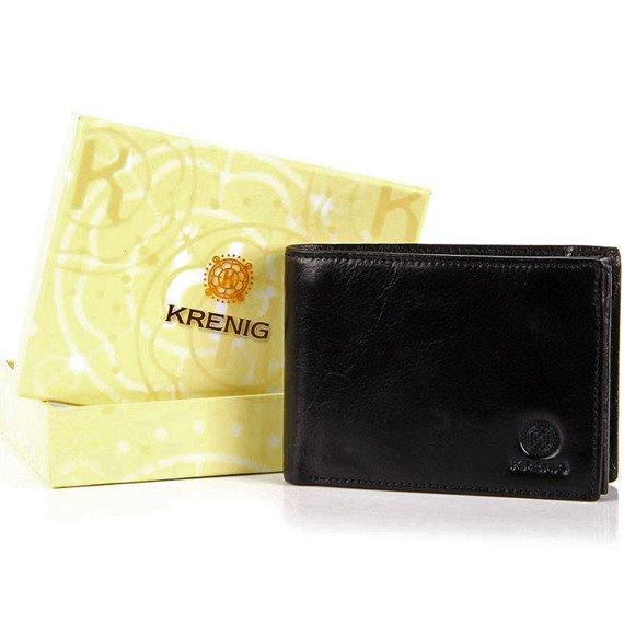 Skórzany portfel męski czarny w pudełku KRENIG Classic 12090