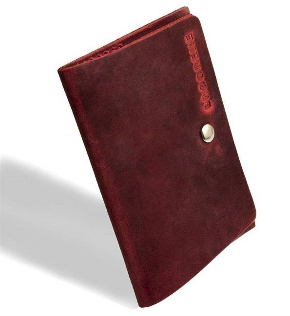 Skórzany cienki portfel slim wallet BRODRENE SW06 czerwony