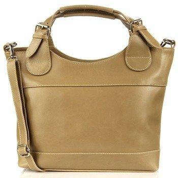 DAN-A T214 ciemnobeżowa torebka skórzana damska kuferek