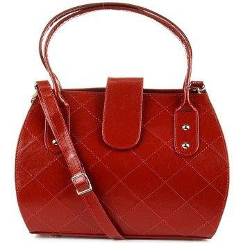DAN-A T256 czerwony elegancki kuferek ze skóry naturalnej