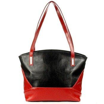 DAN-A T286 czarno - czerwona torebka skórzana damska