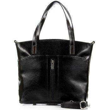 DAN-A T298 czarna torebka damska ze skóry naturalnej