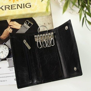 KRENIG Classic 12007 czarne skórzane etui na klucze