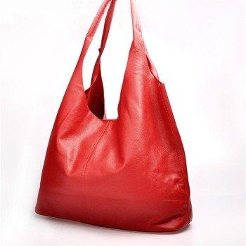 MADE IN ITALY Spalla 222 czerwona włoska torebka skórzana worek