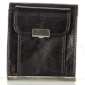 P161 czekoladowy skórzany portfel męski