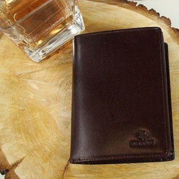 Portfel skórzany męski KRENIG Classic 12029 brązowy w pudełku