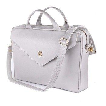 e4ba9a949f6b8 Skórzana torba aktówka damska na laptopa FELICE jasnoszara