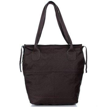 Skórzana torebka ciemnobrązowa DAN-A T341
