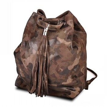 Skórzana włoska torba, plecak Zaino 008 moro
