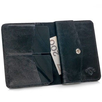 62944bb30f7a0 Skórzany cienki portfel męski z bilonówką SOLIER SW15 SLIM czarny
