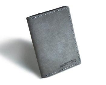 Skórzany cienki portfel slim wallet BRODRENE SW04 szary