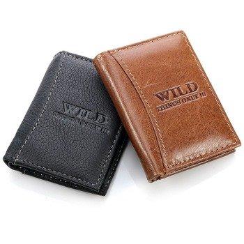 Skórzany mini-portfel męski brązowy GA97