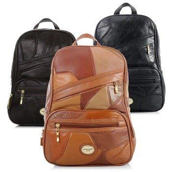 Skórzany plecak damski czarny GA32