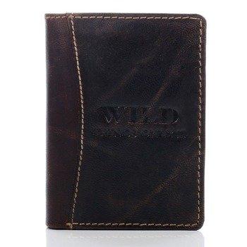 Skórzany portfel męski ciemnobrązowy GA94