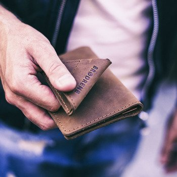 Skórzany zestaw portfel i bilonówka BRODRENE SW01 + CW01 jasnobrązowy