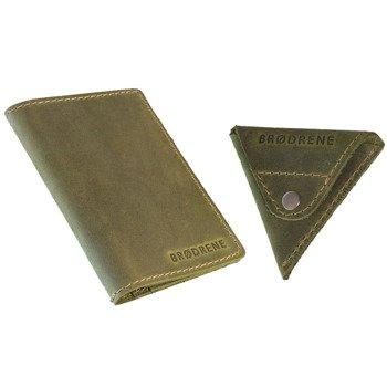 Skórzany zestaw portfel i bilonówka BRODRENE SW01 + CW01 zielony