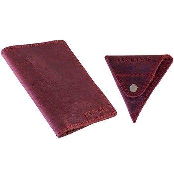 Skórzany zestaw portfel i bilonówka BRODRENE SW05 + CW01 czerwony