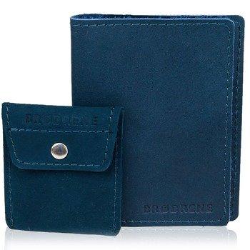 Skórzany zestaw portfel i bilonówka BRODRENE SW05 + CW02 granatowy