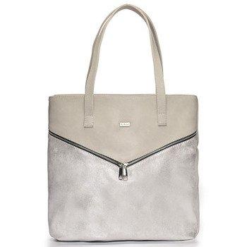 Torba damska shopper bag FELICE Verona Due srebrno-beżowa