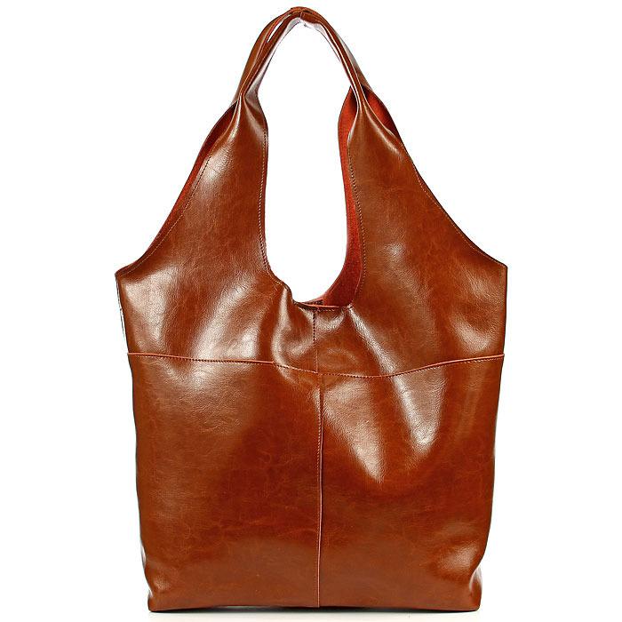 Skórzana torebka damska shopper bag camel DAN-A T354