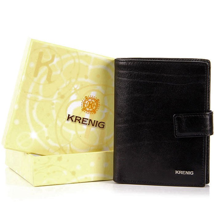 KRENIG El Dorado 11082 - ESKLUZYWNY czarny SKÓRZANY PORTFEL MĘSKI w pudełku