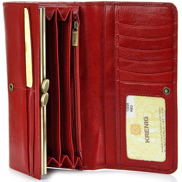 bf29af0e28680 ... Portfel skórzany damski KRENIG Classic 12026 czerwony w pudełku