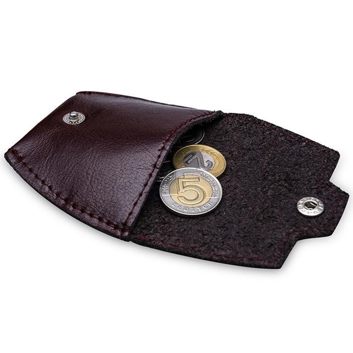 Skórzana bilonówka, portfel na monety bordowy Solier SA10