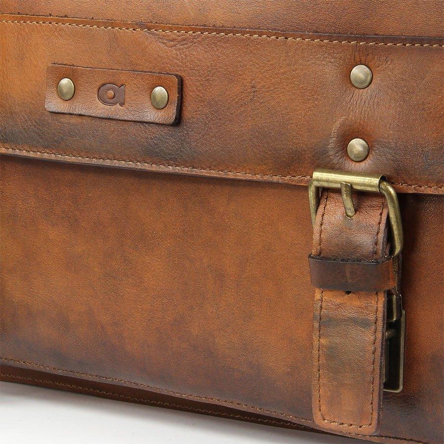Skórzana teczka do ręki i torba na ramię unisex DAAG Alive 9 koniakowa