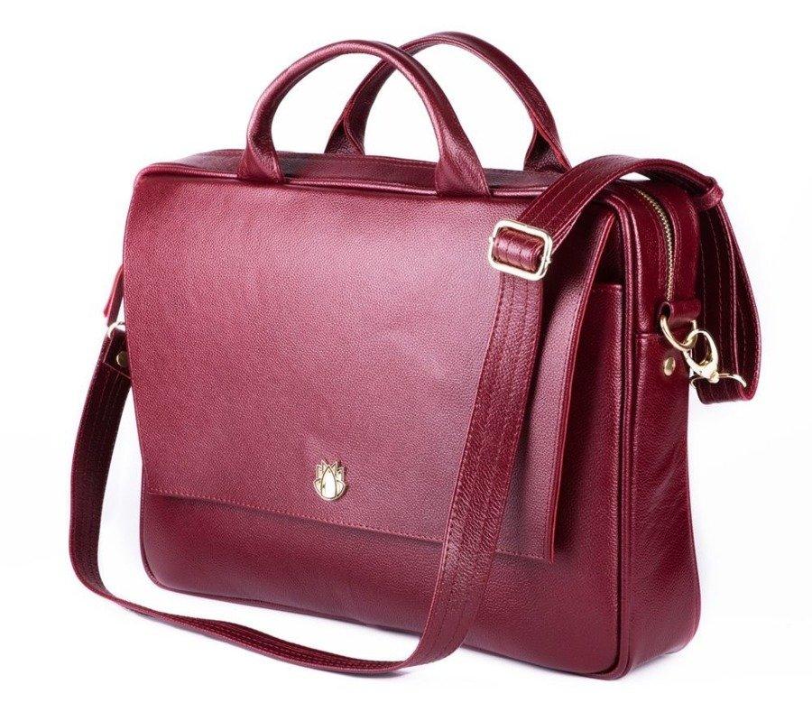 de6932d63f619 Skórzana torba aktówka damska na laptopa FELICE burgundowa -  17525 ...