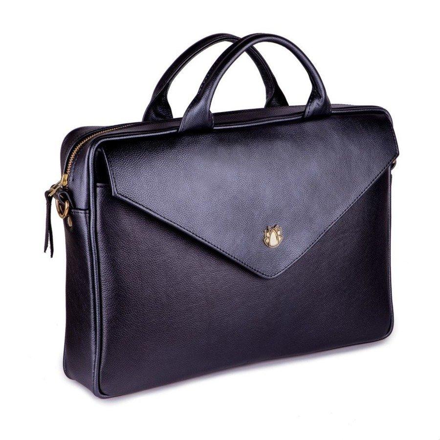 e248763187e75 Skórzana torba aktówka damska na laptopa FELICE czarna -  17401 ...