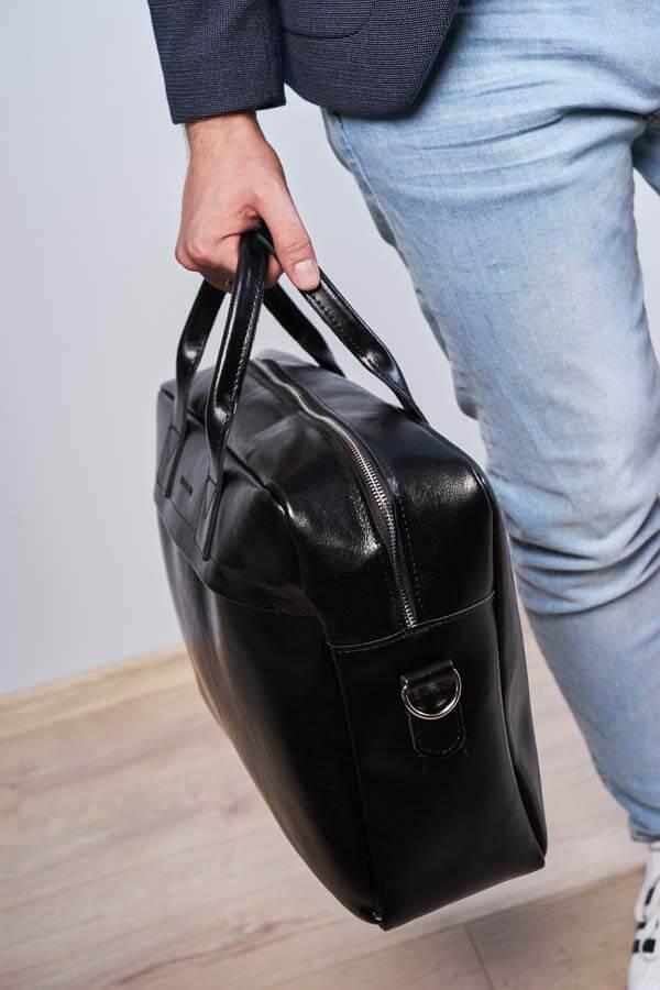 965f0aea2a430 Skórzana torba męska na laptopa 17' BRODRENE R03XL czarna - [17020 ...