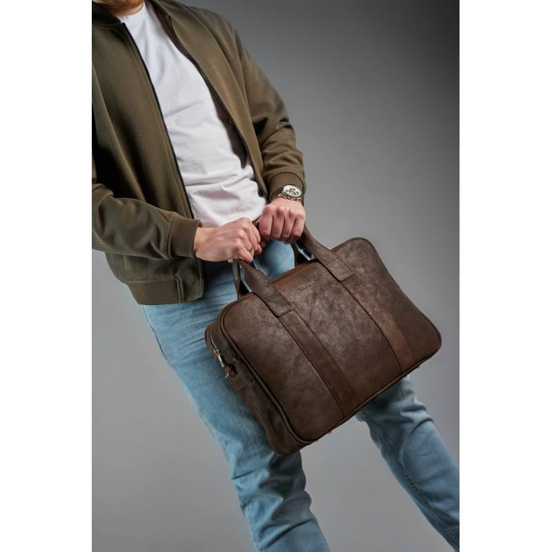 762e4e68e7d1a Skórzana torba męska na laptopa BRODRENE BL01 ciemnobrązowa - [14229 ...