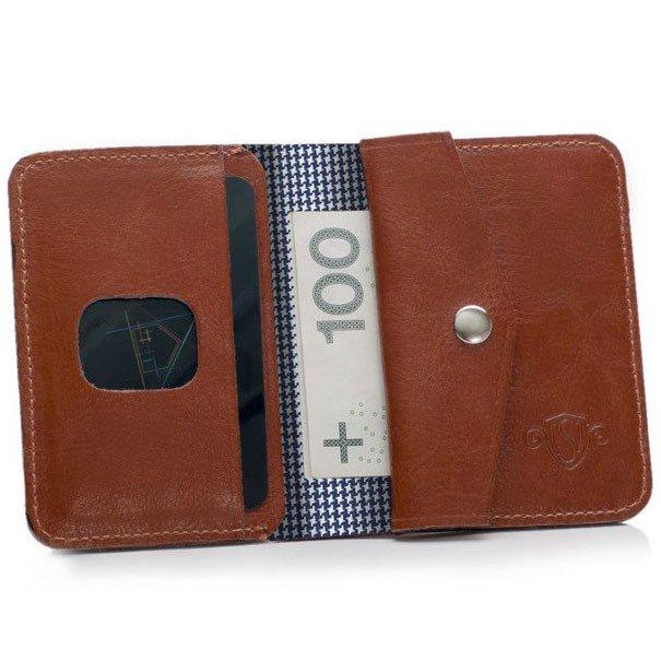 92c7563ce72c1 Skórzany cienki portfel męski z bilonówką SOLIER SW16A SLIM brązowy ...