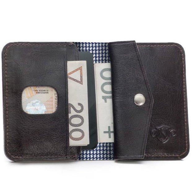 5898588597f78 Skórzany cienki portfel męski z bilonówką SOLIER SW16A SLIM ciemny brąz ...