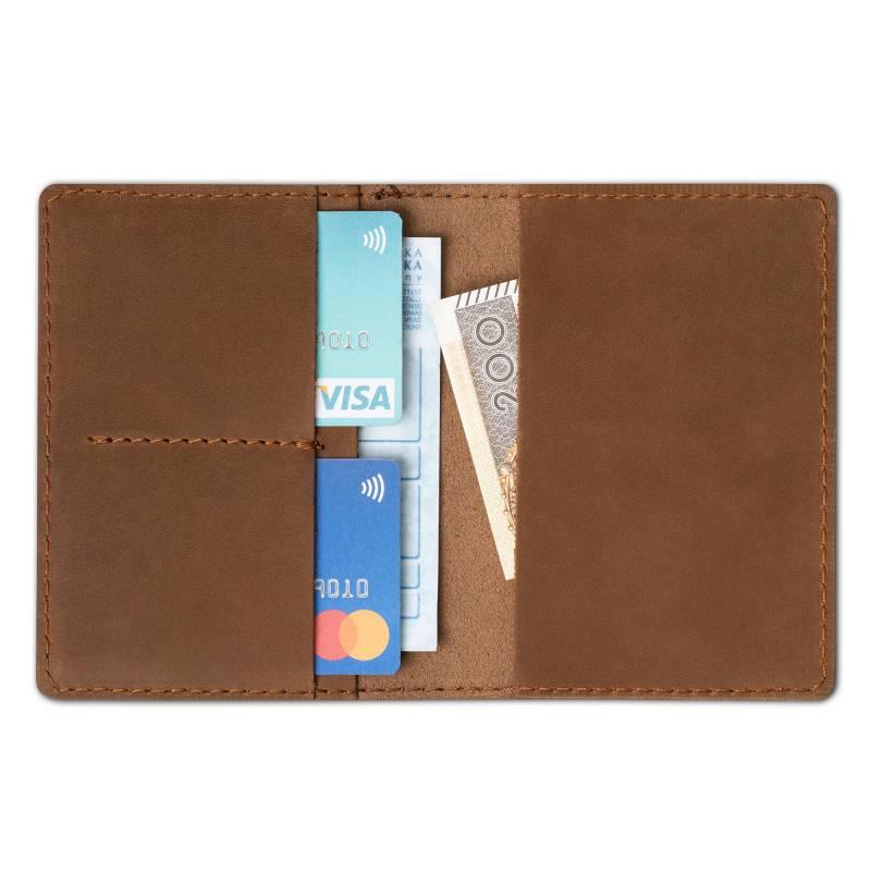 c27db43f449bf Skórzany cienki portfel slim wallet BRODRENE SW01 jasnobrązowy ...