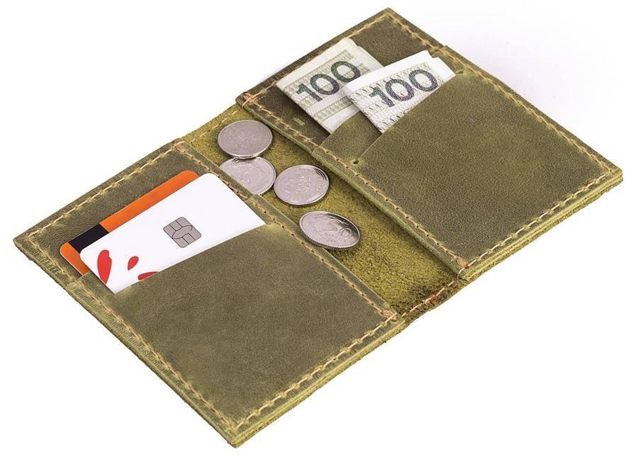 a48bbf8f8a131 Skórzany cienki portfel slim wallet BRODRENE SW03 oliwkowy -  17027 ...