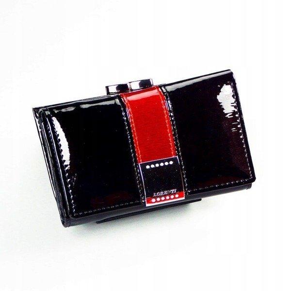 5e08bb84206d7 Skórzany portfel damski lakierowany z kryształkami czarny Lorenti 15-09 ...