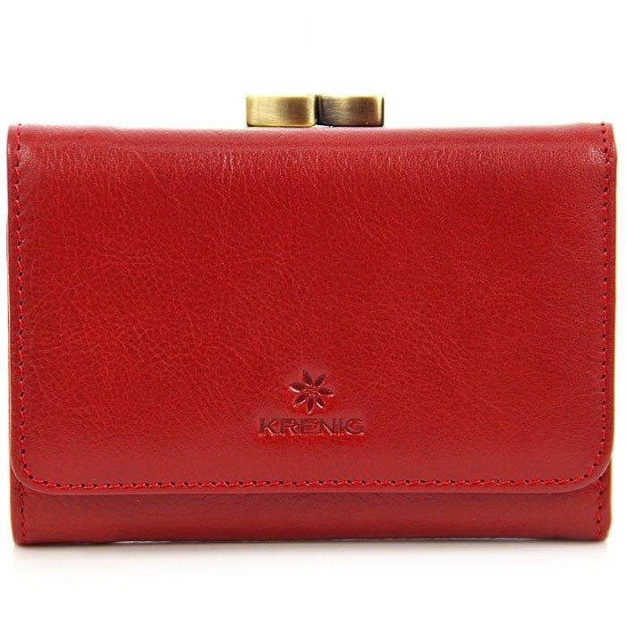 0cc0e52c3d370 Skórzany portfel damski w pudełku KRENIG Classic 12009 czerwony ...