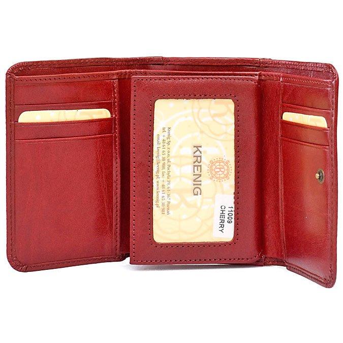 949fb39a0efdf Skórzany portfel damski w pudełku KRENIG El Dorado 11009 czerwony ...