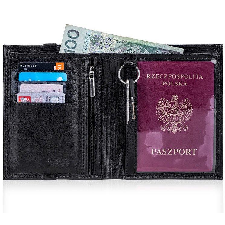 d54156896bd23 Skórzany portfel męski na paszport SOLIER SW07 czarny - [15670 ...