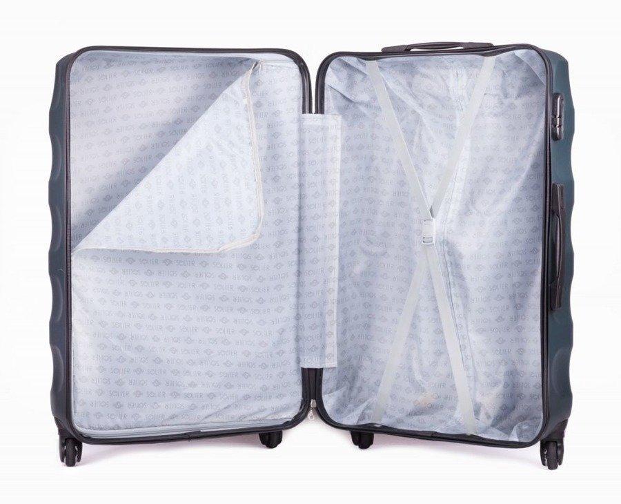 1ad3ba8d6a4d0 ... Średnia walizka podróżna na kółkach SOLIER STL402 M ABS ciemnozielona  ...