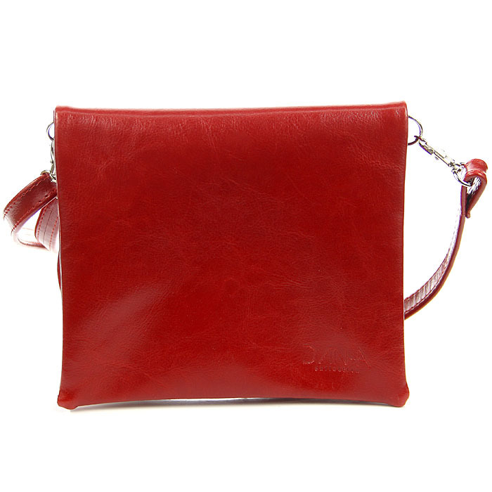 Torebka skórzana damska kopertówka czerwona DAN-A T370