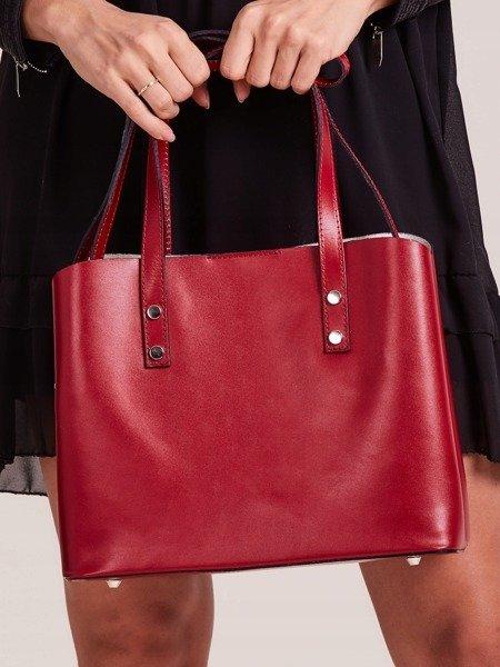 7873b0f48b657 Włoska skórzana torebka shopper bag czerwona Rovicky TWR-61 -  20589 ...