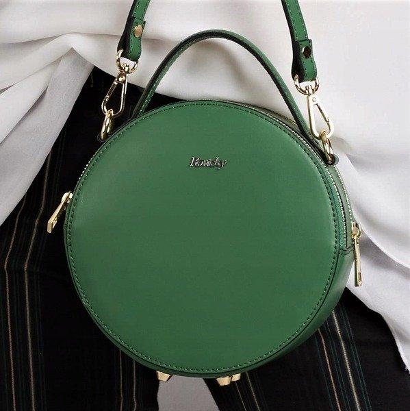 57b079fe44040 Włoska torebka skórzana okrągła zielona Rovicky TWR-71 -  20759 ...