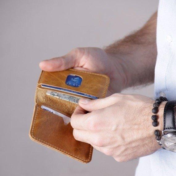 Cienki skórzany portfel męski Solier SW11 czarny